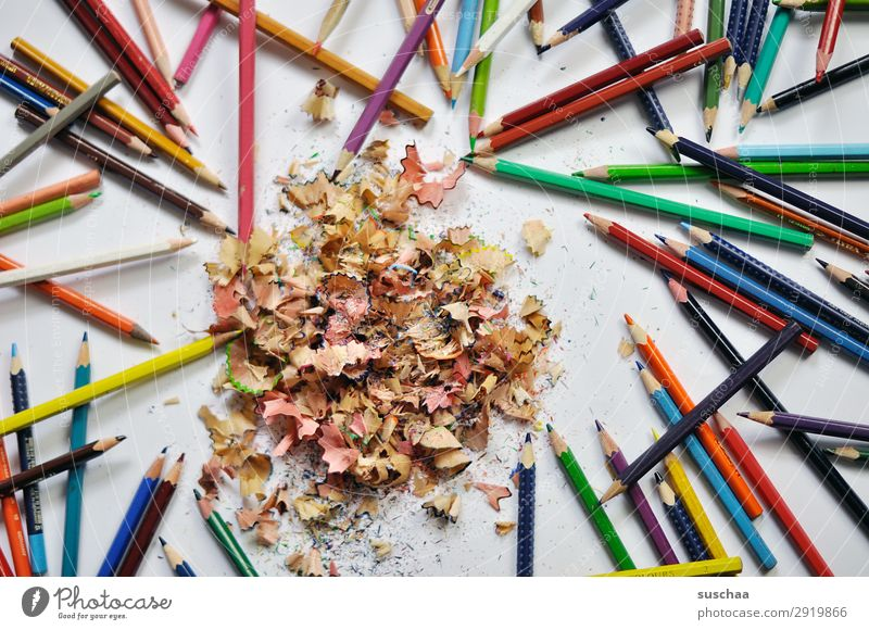 coloured pencils (2) Draw Drawing pencil Crayon Artist Chaos Muddled Dirty sharpen Point Shavings Wood Multicoloured School Parenting Office Creativity