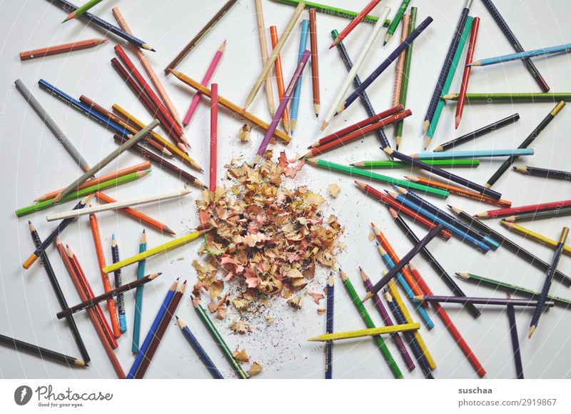 coloured pencils Draw Drawing pencil Crayon Artist Chaos Muddled Dirty sharpen Point Shavings Wood Multicoloured School Parenting Office Creativity Illustration