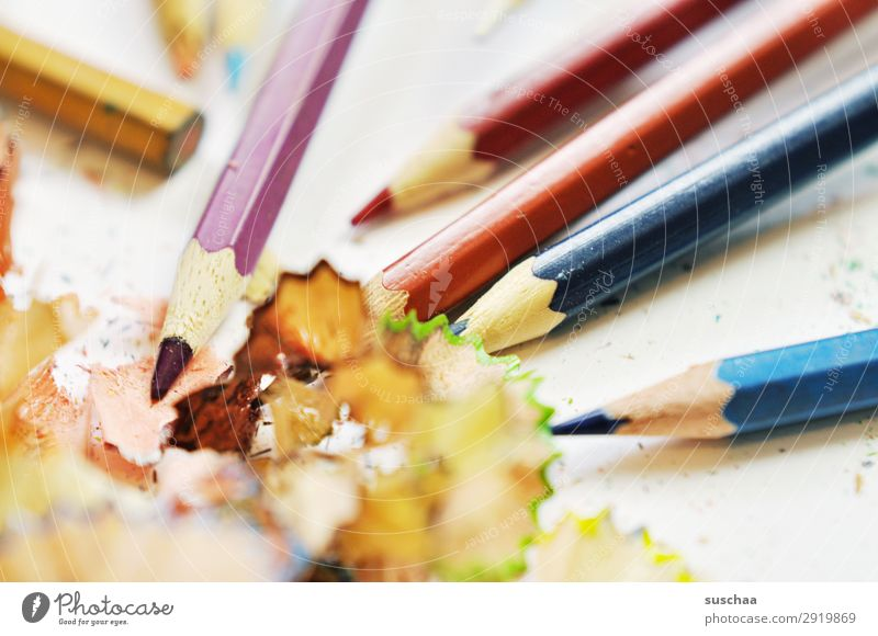 sharpen pens Draw Drawing pencil Crayon Artist Chaos Muddled Dirty Sharpener Point Shavings Wood Multicoloured School Parenting Office Creativity Illustration