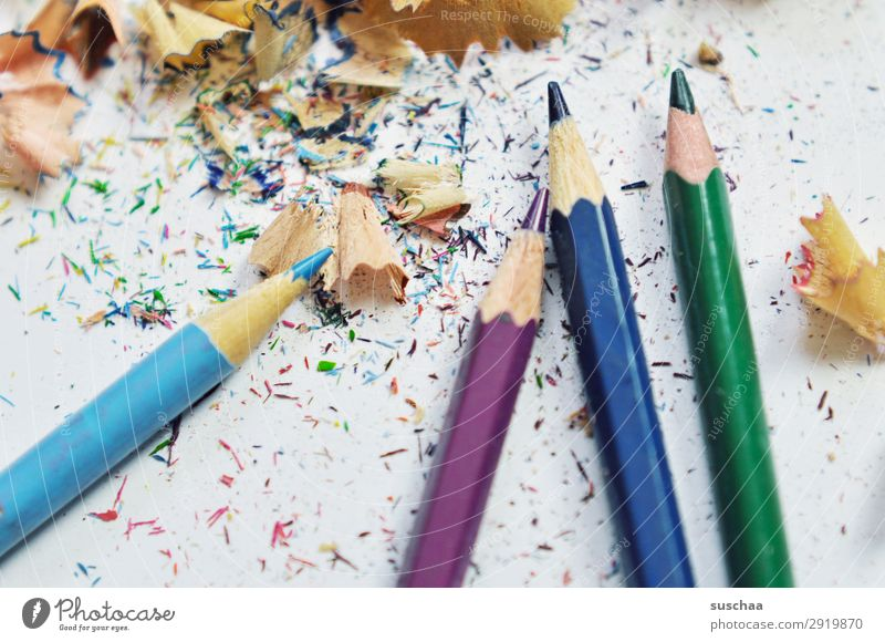 sharpen pins (2) Draw Drawing pencil Crayon Artist Chaos Muddled Dirty Sharpener Point Shavings Wood Multicoloured School Parenting Office Creativity