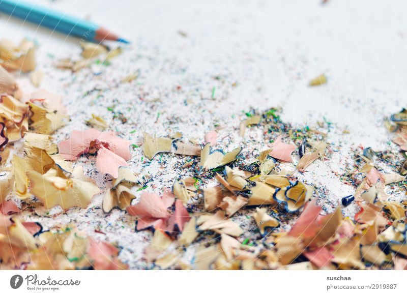 freshly sharpened Draw Drawing pencil Crayon Artist Chaos Muddled Dirty Point Shavings Wood Light blue School Parenting Office Creativity Illustration