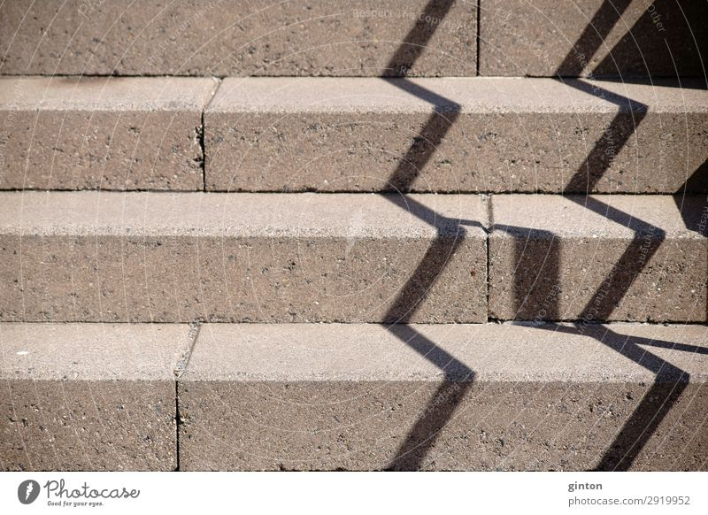 Balustrade shadow on staircase Architecture Stairs Concrete Sharp-edged Firm Perspective handrail shadow Handrail zig zag shadow Zigzag sloping staircase
