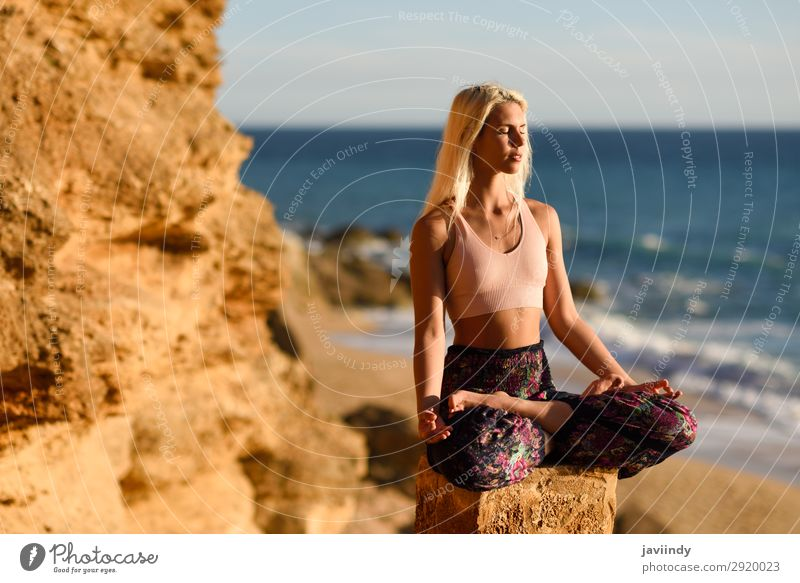 Woman enjoying the sunset on a beautiful beach Lifestyle Happy Beautiful Body Relaxation Meditation Leisure and hobbies Vacation & Travel Freedom Summer Sun