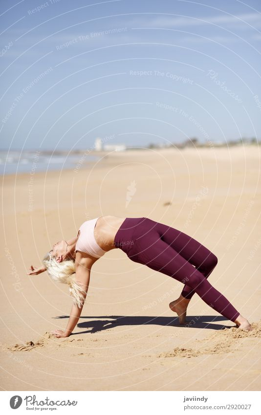 Caucasian blonde woman practicing yoga in the beach Woman Human being Nature Youth (Young adults) Young woman Summer Beautiful Ocean Relaxation Joy Beach