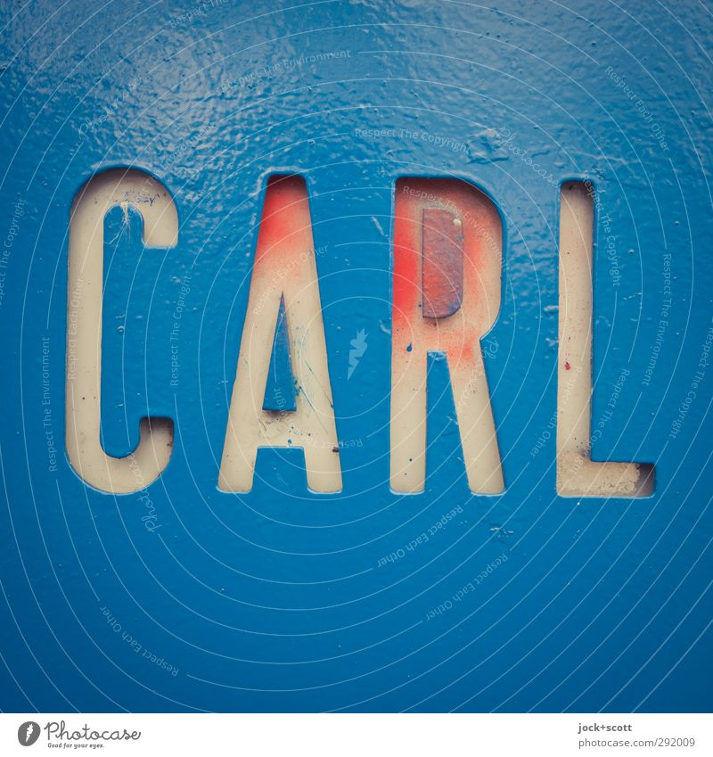 Carl Decoration Metal Signs and labeling Word Firm Near Retro Blue Unwavering Thrifty Idea Identity Quality Name plate Surface structure Spray Paint traces