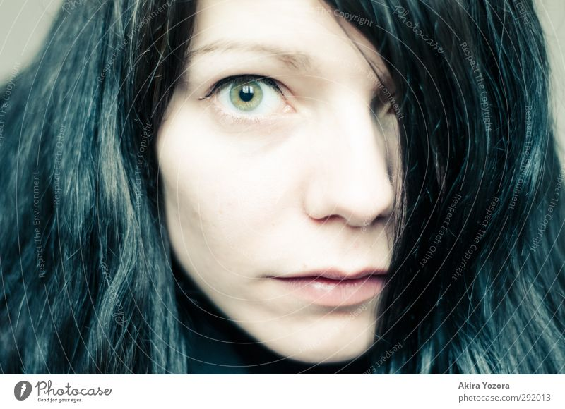 in the field of view Feminine Adults Face 1 Human being 18 - 30 years Youth (Young adults) Black-haired Long-haired Observe Looking Near Green Pink Emotions