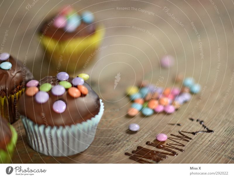 muffins Food Cake Candy Chocolate Nutrition To have a coffee Feasts & Celebrations Birthday Small Delicious Sweet Chocolate buttons Chocolate cake Muffin