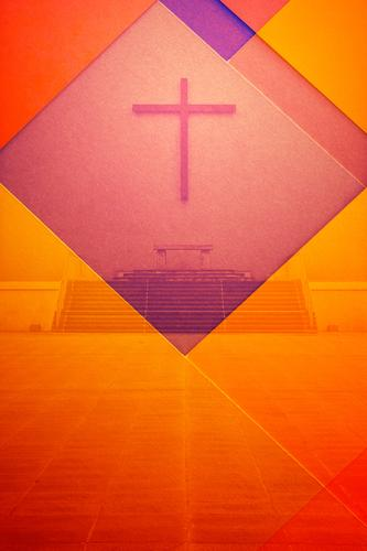 Double exposure altar with cross and coloured paper Altar Crucifix Christian cross Paper Multicoloured Red Orange Colour Religion and faith God Church Concrete