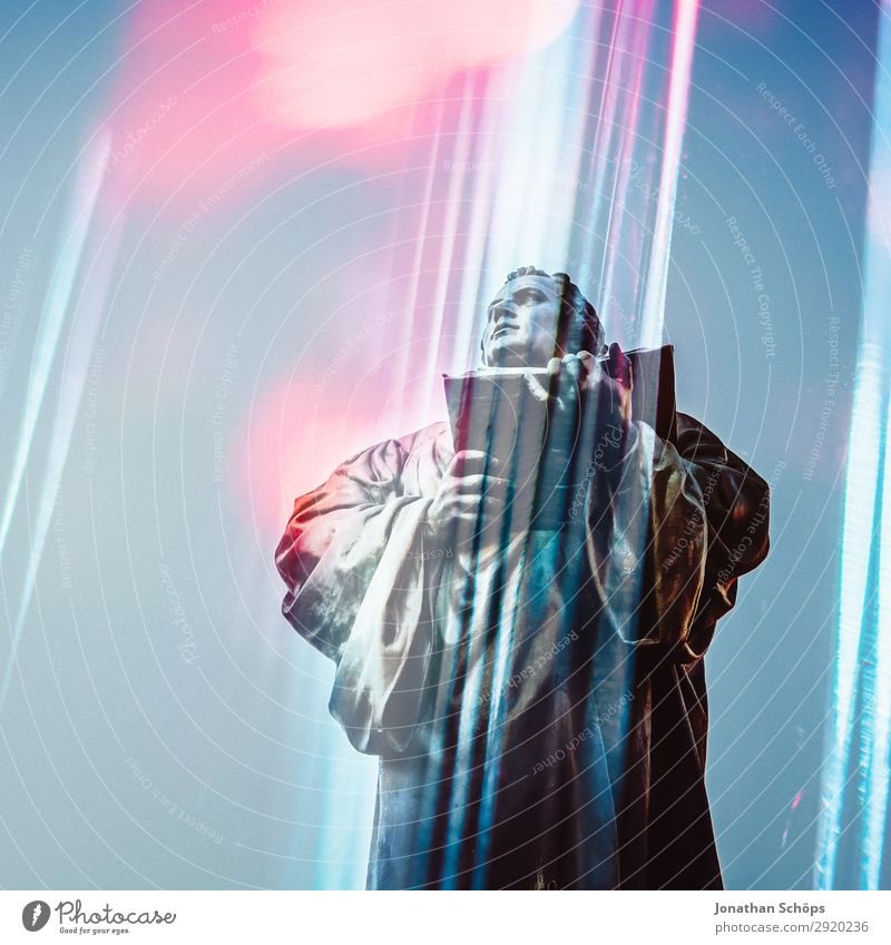 Martin Luther statue futuristic double exposure 500 Reform Orientation Religion and faith anger Christianity Erfurt Protestantism God Jubilee Winter sunny