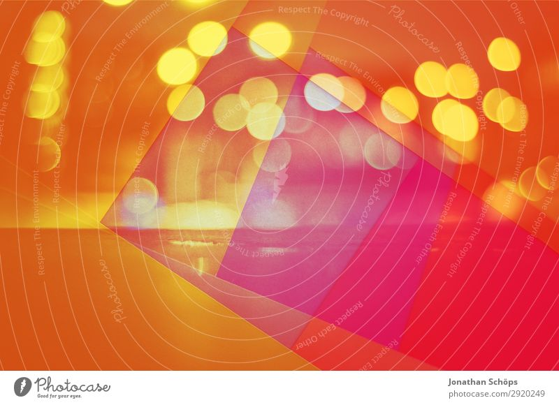 graphical background image with bokeh and paper Esthetic Blue Multicoloured Yellow Red Optimism Experimental Abstract Graphic Background picture Warm colour