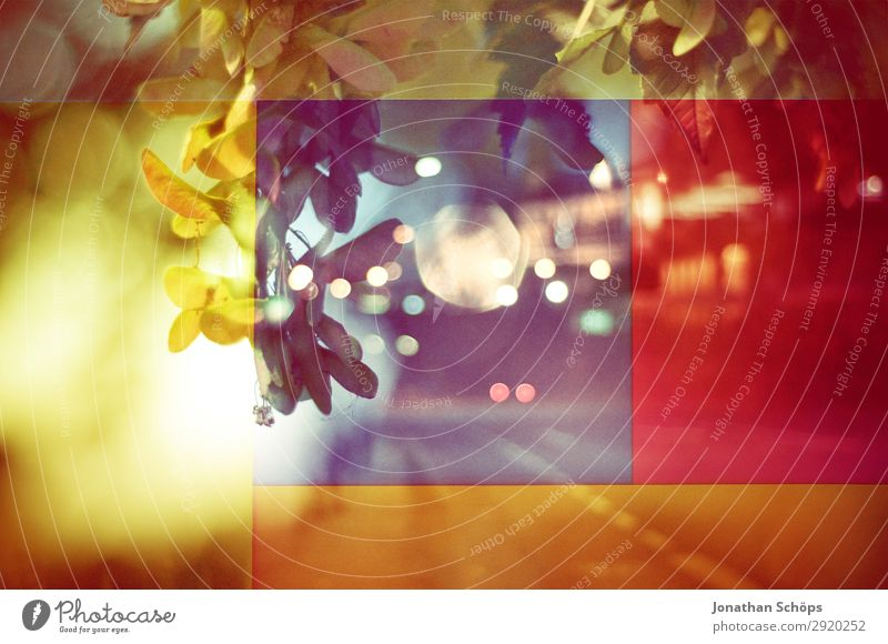 graphic background image with street and leaves Town Esthetic Blue Multicoloured Yellow Red Cool (slang) Optimism Life Double exposure Experimental Abstract