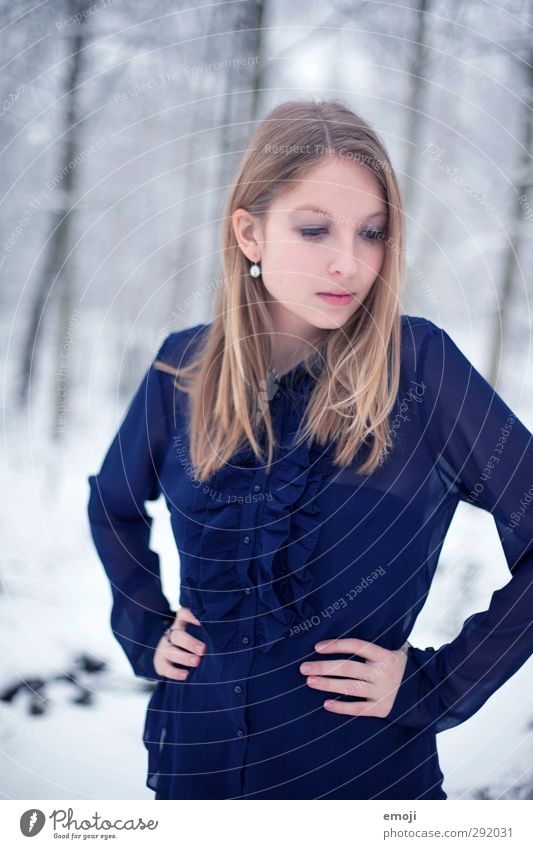 Human being Youth (Young adults) Blue Beautiful Young woman Adults Cold Feminine 18 - 30 years Blonde Blouse