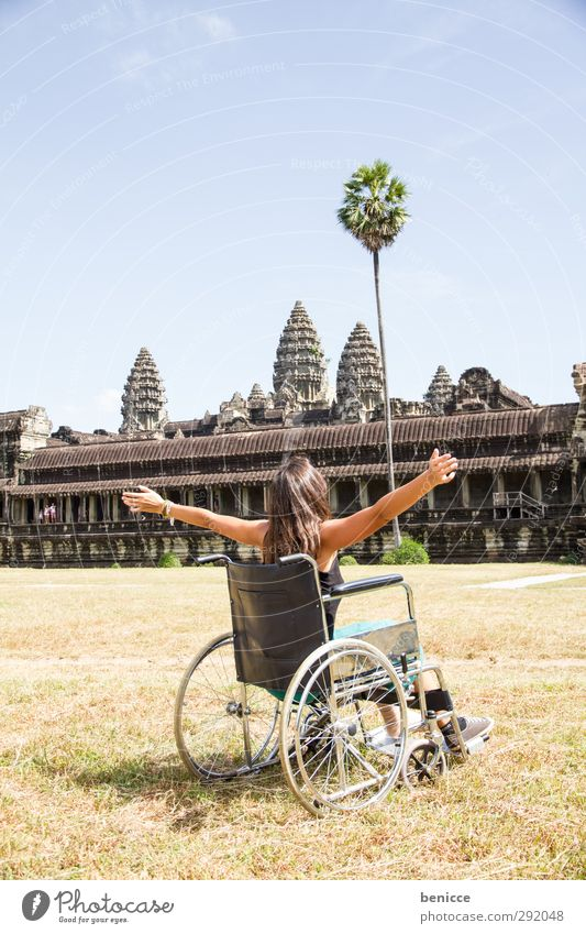 Wheelchair trip to Angkor Wat Woman Human being Handicapped Vacation & Travel Travel photography Wound Sit Asia Mobility Cambodia Around-the-world trip