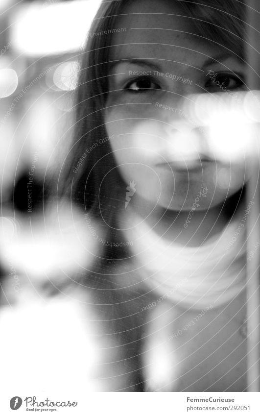 Hidden. Elegant Beautiful Hide Pane Backwards Reflection Point of light Floodlight Shop window Slice Glass Brunette Brown eyes Long-haired Scarf Smooth hair