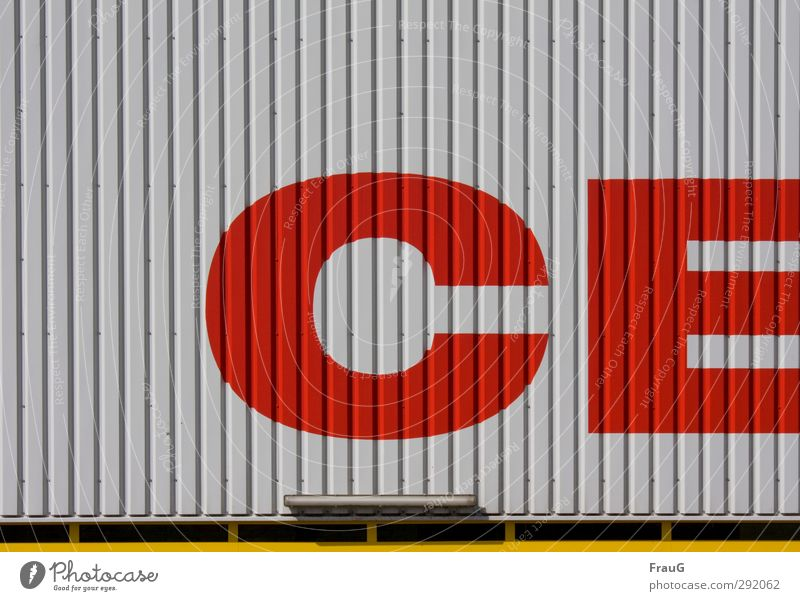 City Red Yellow Gray Building Metal Facade Characters Shopping Trade Striped Shopping malls