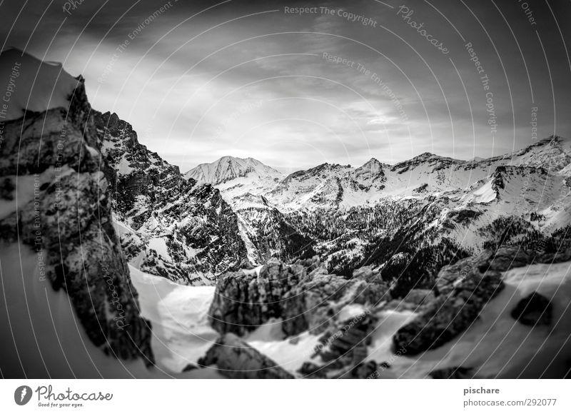 Winter Clouds Landscape Dark Mountain Snow Adventure Snowcapped peak Sharp-edged