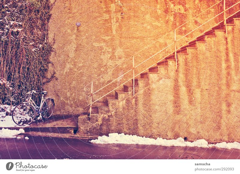 City Winter Environment Wall (building) Snow Wall (barrier) Bicycle Stairs Lifestyle City life Concrete Cycling Banister Entrance Downtown Upward