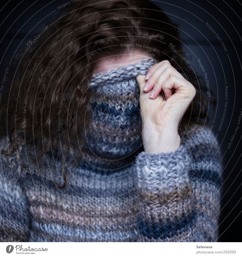 wrapped warm Hair and hairstyles Human being Feminine Woman Adults Hand Fingers 1 Clothing Sweater Brunette Long-haired Curl Freeze Cold Cuddly Warmth Soft