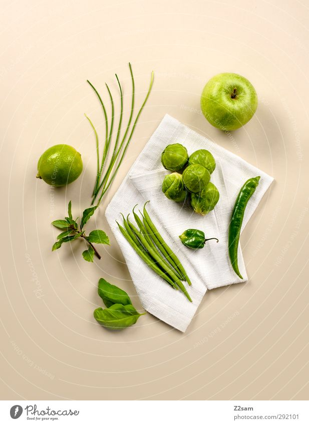 Green Healthy Natural Food Fruit Elegant Arrangement Modern Fresh Esthetic Simple Clean Apple Herbs and spices Vegetable Still Life