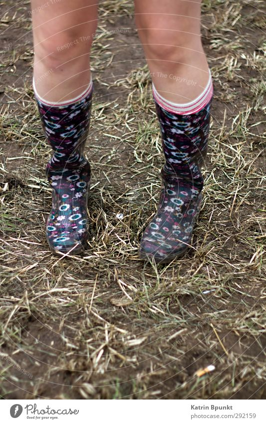 gumboots #1 Legs Human being Meadow Striped socks Rubber boots Stand Colour photo Exterior shot