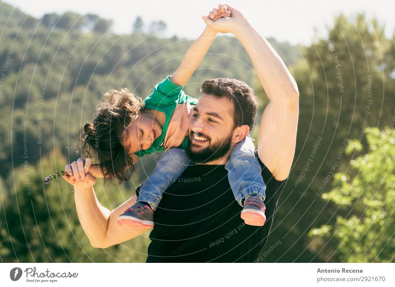 Bearded father and baby girl playing outdoors Lifestyle Joy Beautiful Leisure and hobbies Playing Freedom Summer Child Human being Baby Girl Man Adults Parents
