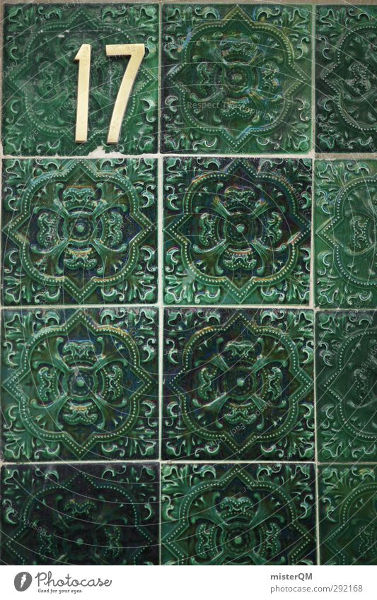 When I was 17. Art Esthetic Tile Tiled stove Portugal Lisbon Facade Wall (building) Cladding Green Decoration Pattern Insulation Seam Square Colour photo