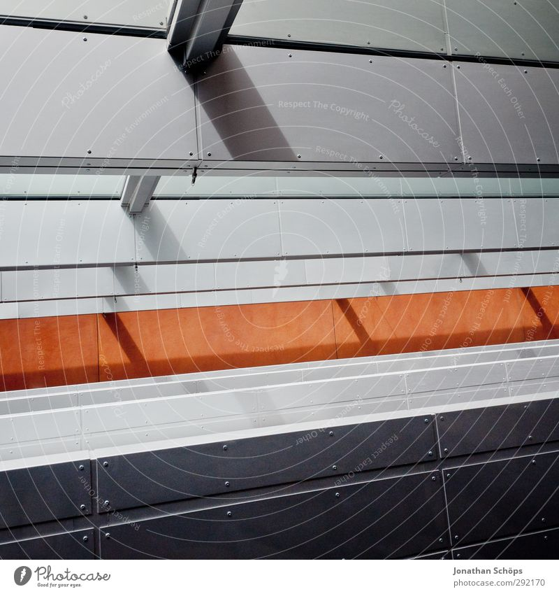 steel Manmade structures Building Architecture Esthetic Steel Window Shadow Shaft of light Gray Black Orange Line Pattern Geometry Ambitious Positive