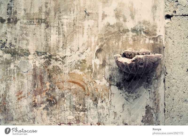 holy-water clam Church Ruin Stone Old Historic Broken Gray Wall (building) Fresco Copy Space left Subdued colour Exterior shot Deserted