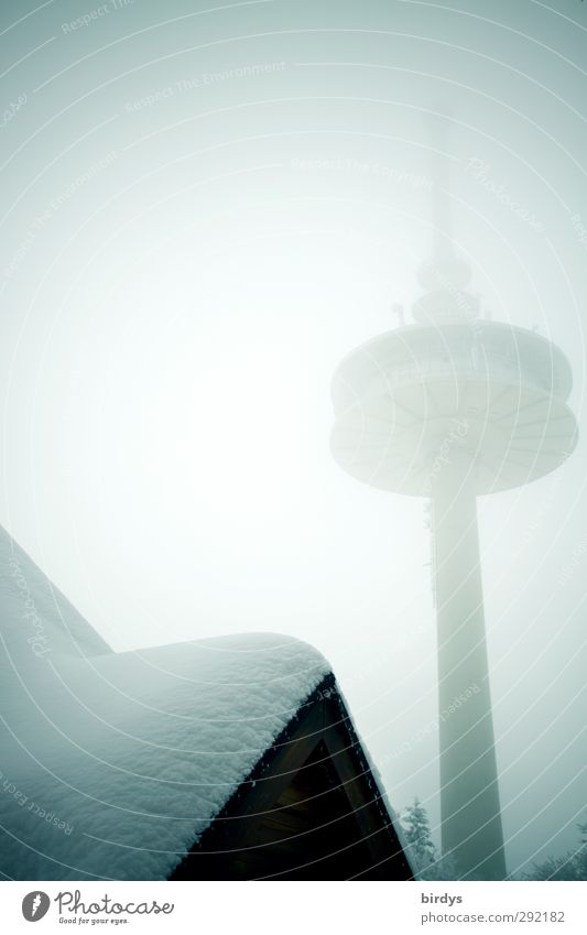 City Winter Snow Ice Exceptional Fog Tall Perspective Future Telecommunications Roof Frost Tower Manmade structures Hut Whimsical