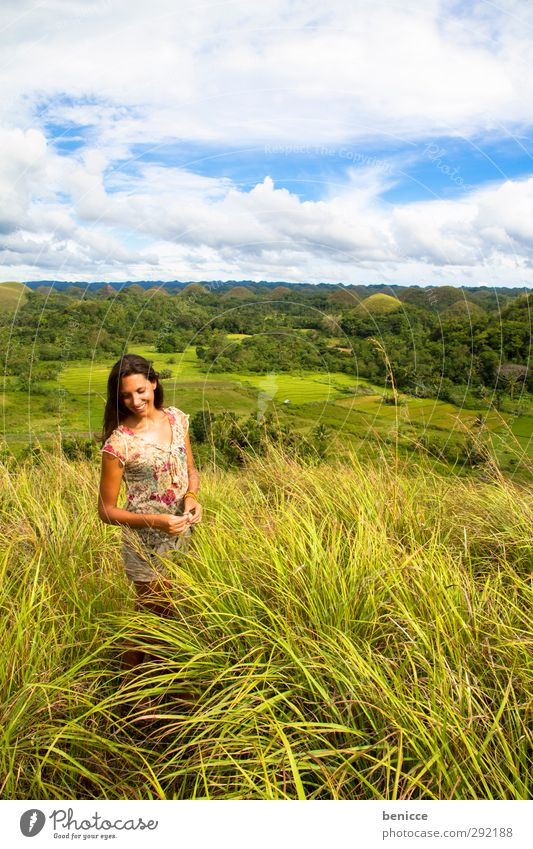 Human being Woman Sky Nature Vacation & Travel Green Beautiful Summer Calm Meadow Mountain Grass Freedom Travel photography Going Wind