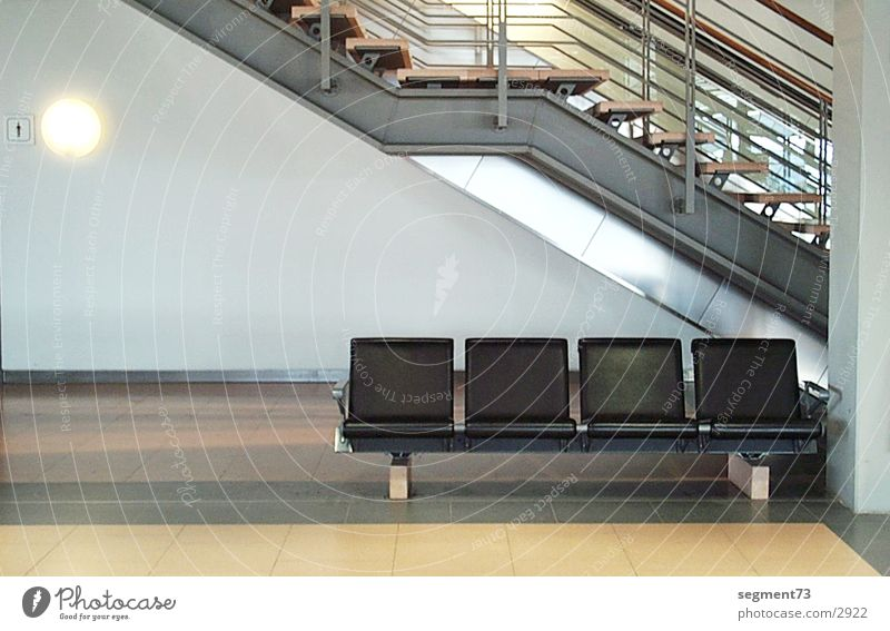 Seat row at the airport Seating Sit Bench Deserted Stairs Interior design Architecture Modern Modern architecture Interior shot Concourse Design