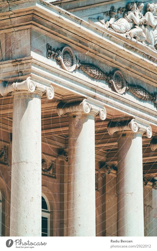 Ionic Columns In Lisbon, Portugal Building City Vacation & Travel Stone volutes Vintage Vertical Temple Structures and shapes Power Roman Pillar pilaster Old