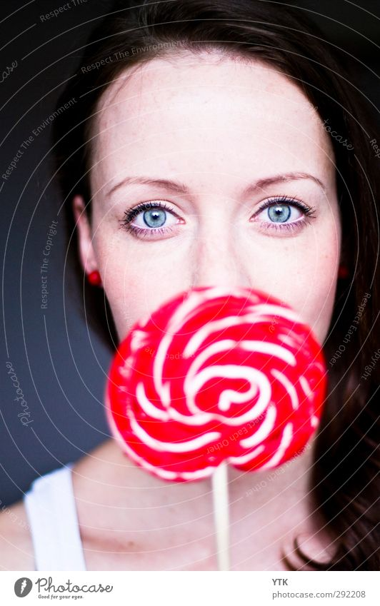lollipop Food Candy Nutrition Human being Feminine Young woman Youth (Young adults) Woman Adults Infancy Head Hair and hairstyles Face Eyes 1 18 - 30 years