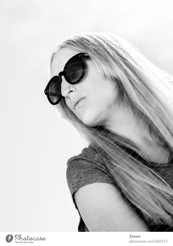 Lena. Summer 1 Human being T-shirt Sunglasses Blonde Think Relaxation Dream Esthetic Beautiful Natural Serene Face Black & white photo Exterior shot Day