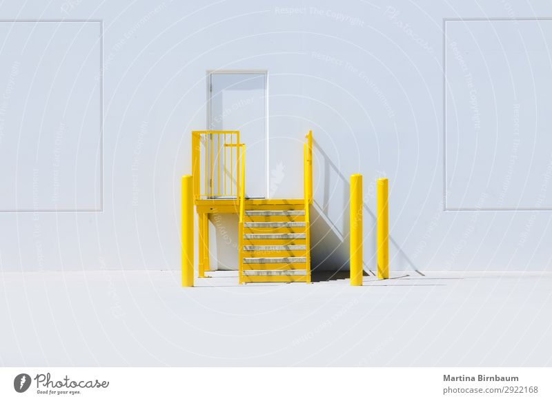 Yellow staircase with an entrance door and a white wall Design Americas Industrial plant Wall (barrier) Wall (building) Happiness Fresh stairs steps