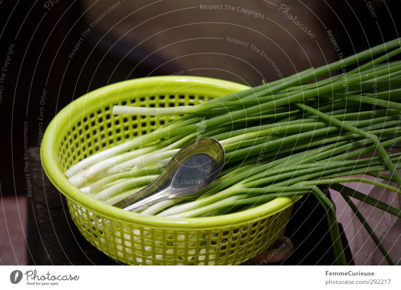 Spring onions. Food Nutrition Lunch Dinner Organic produce Vegetarian diet Asian Food Nature Cooking Preparation Bowl Plastic Green Yellow Leek vegetable Onion