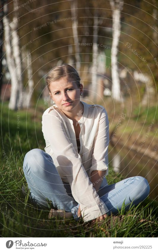 crossed legs Feminine Young woman Youth (Young adults) 1 Human being 18 - 30 years Adults Environment Nature Spring Blonde Beautiful Natural Sit