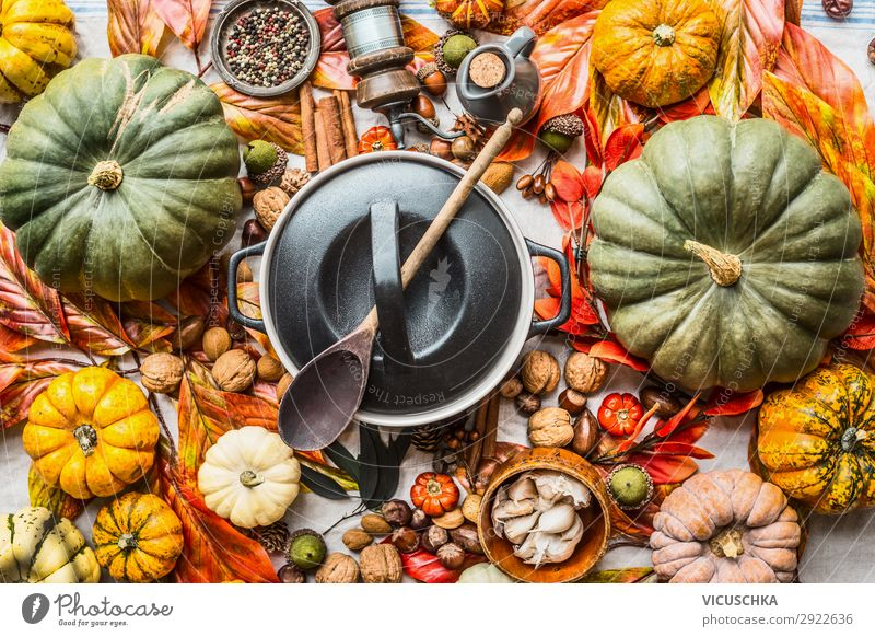 Tasty Autumn Ingredients Food Vegetable Nutrition Banquet Organic produce Vegetarian diet Diet Slow food Crockery Pot Spoon Style Design Healthy Eating Table