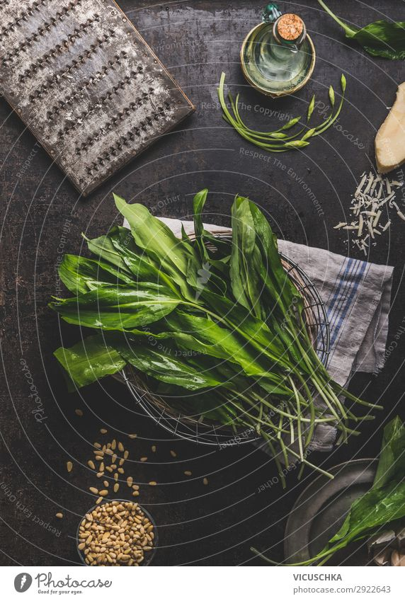 Wild garlic on kitchen table Food Lettuce Salad Herbs and spices Nutrition Organic produce Vegetarian diet Diet Crockery Shopping Style Design Healthy
