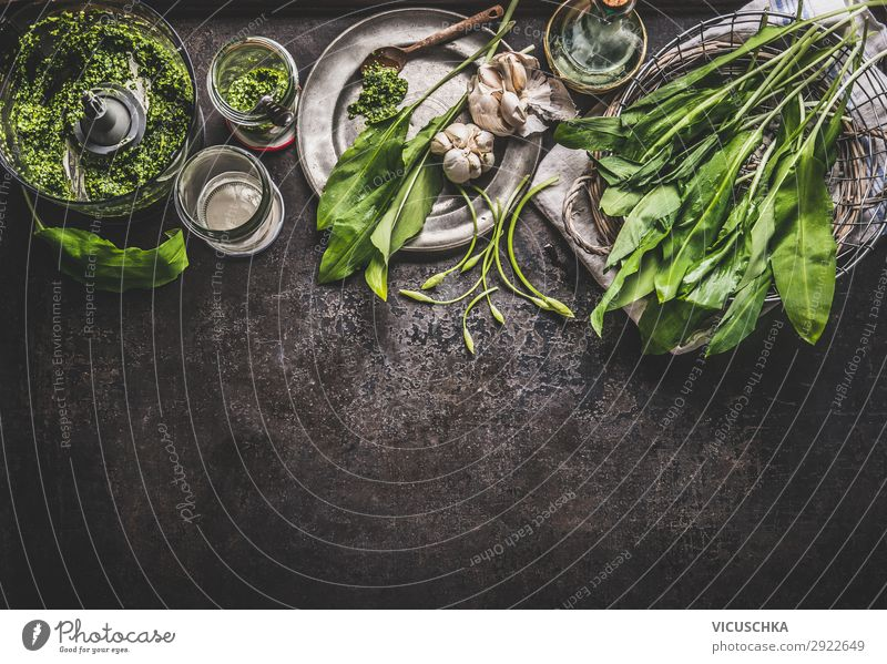 wild garlic pesto ingredients Food Herbs and spices Cooking oil Nutrition Organic produce Vegetarian diet Diet Crockery Style Design Healthy Eating Table