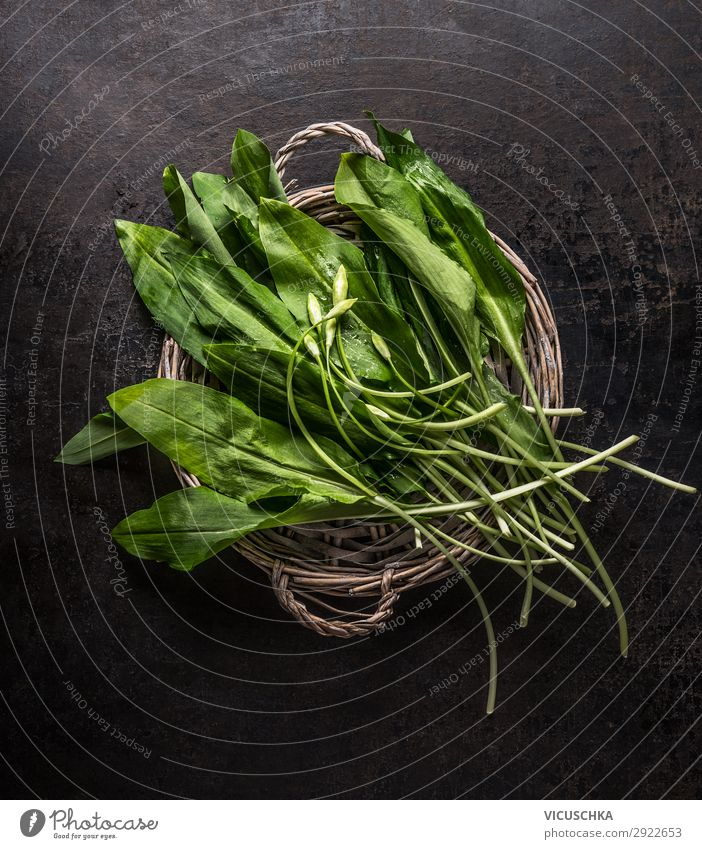 bunch of fresh wild garlic Food Herbs and spices Nutrition Organic produce Vegetarian diet Diet Shopping Style Design Healthy Eating Vitamin Club moss Bundle