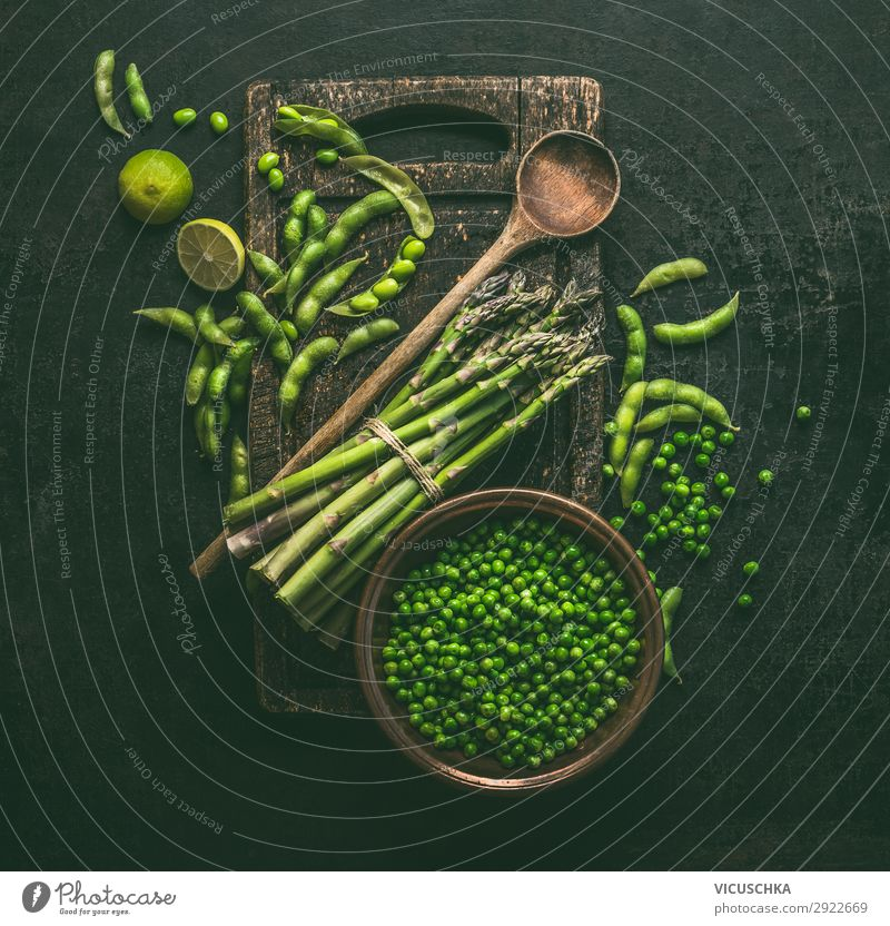 Green cooking ingredients: asparagus, soybeans, peas Food Vegetable Lettuce Salad Nutrition Organic produce Vegetarian diet Diet Pot Spoon Style Design Healthy