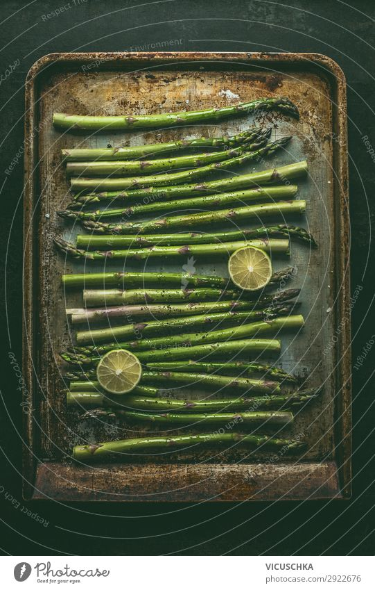 Green asparagus on baking tray Food Vegetable Nutrition Organic produce Vegetarian diet Diet Design Healthy Eating Asparagus Asparagus season Baking tray
