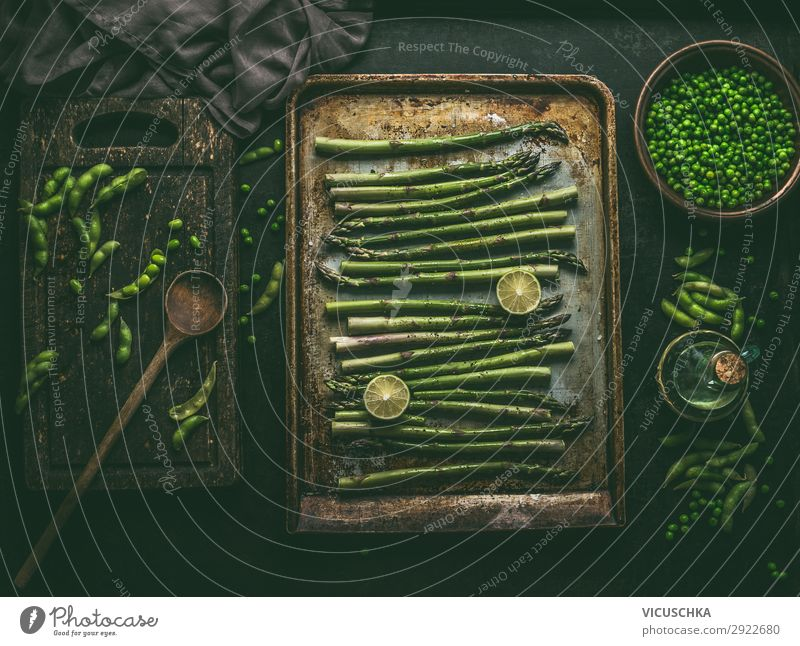 Asparagus on baking tray with green ingredients Food Vegetable Nutrition Organic produce Vegetarian diet Diet Crockery Style Design Healthy Eating