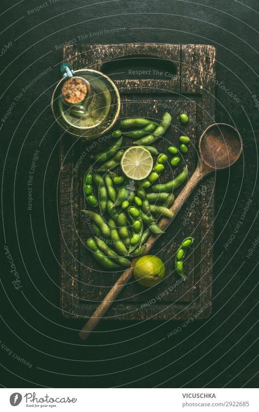 Green Edamame Soybeans Food Vegetable Nutrition Organic produce Vegetarian diet Diet Crockery Style Design Healthy Eating Table Wooden spoon Chinese Vegan diet