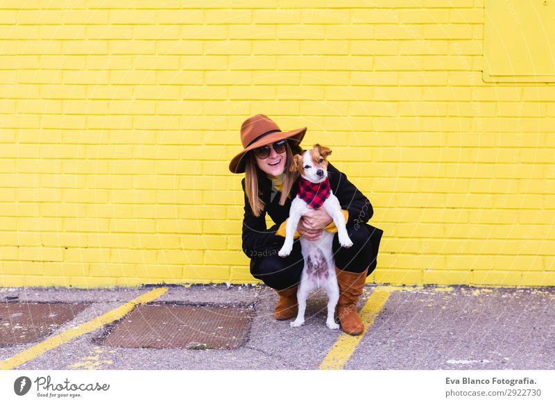 young beautiful woman having fun with her dog outdoors Lifestyle Style Joy Happy Beautiful Leisure and hobbies Feminine Young woman Youth (Young adults) Woman