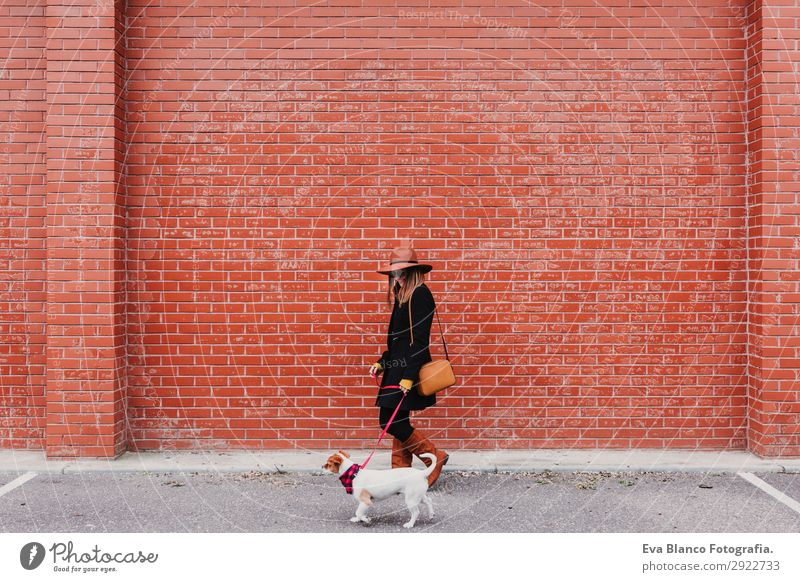 young beautiful woman walking with her dog Woman Human being Dog Youth (Young adults) Young woman Beautiful Animal Joy Lifestyle Adults Love Funny Feminine