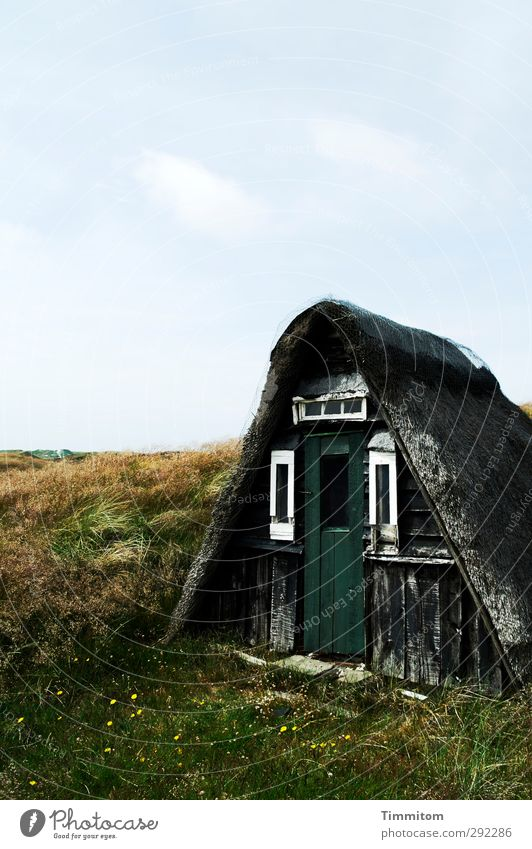 Old houses. A cottage. Vacation & Travel Landscape Sky Clouds Grass Denmark Deserted Hut Fishermans hut Blue Green White Emotions Loneliness Calm Simple