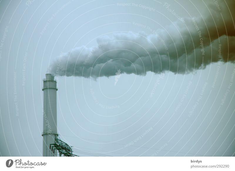 slingshot Industrial plant Chimney Smoking Threat Dark Hideous Tall Gray Lack of inhibition Energy Environmental pollution Destruction Future Industry Smoke