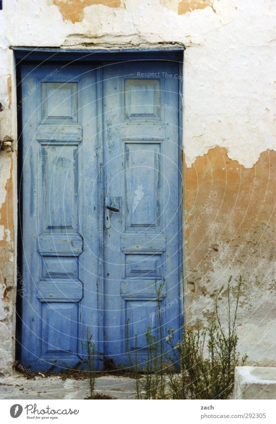 Old houses, please come in. House (Residential Structure) Architecture Entrance Wooden door Broken Derelict Flake off Facade Door Stone Blue White Colour photo